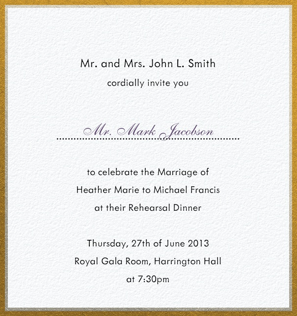 High Format White Formal Party Invitation Card with Gold Frame.