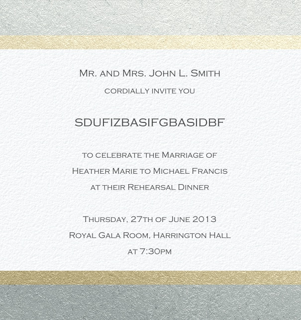 High format Tan Formal invitation card with Mosaic border, customizable design.