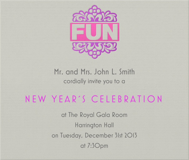 Square Grey Celebration Invitation Card with FUN designed header.
