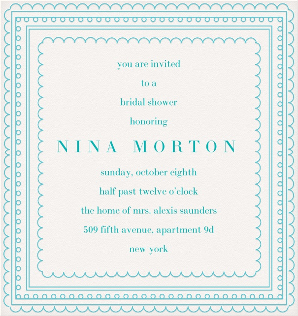 White Party Invitation Template with aqua blue border.