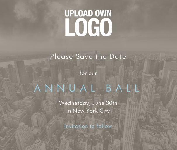 Online invitation template for corporate events and annual ball with dark city landscape background and text box in the middle with space to upload own logo.
