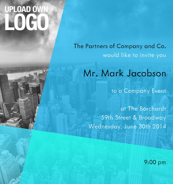 Colorful Online Corporate Invitation for Company Ball or Event invitation with custom background and logo.  Upload your own background with ease.