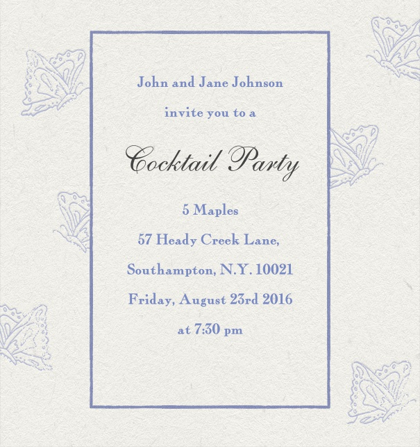 Online classic invitation card with with shells.
