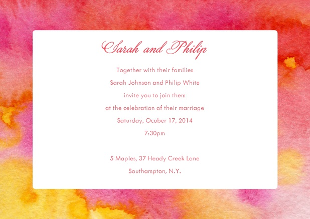Online Wedding invitation card with orange and red watercolor frame.