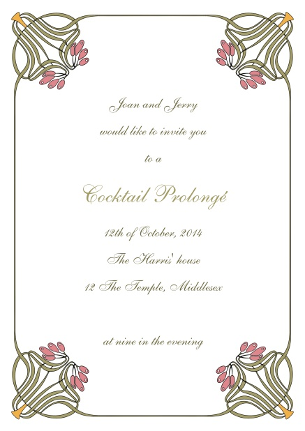 Online wedding invitation card with floral art deco design.