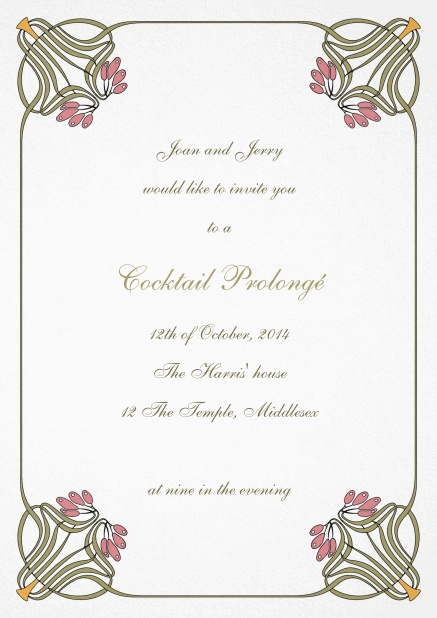 Wedding invitation card with floral art deco design.
