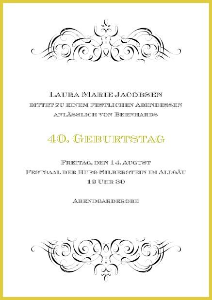 Online Einladung Mit Ornamenten Oben Und Unten Zum 40. Geburtstag.