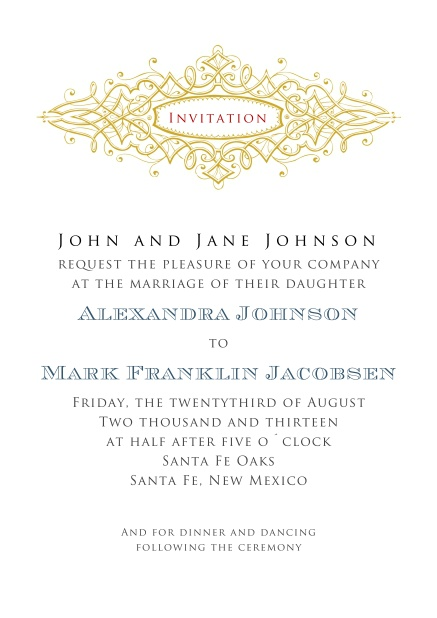 Formal Invitation card in portrait format for weddings and precious birthday invitations.