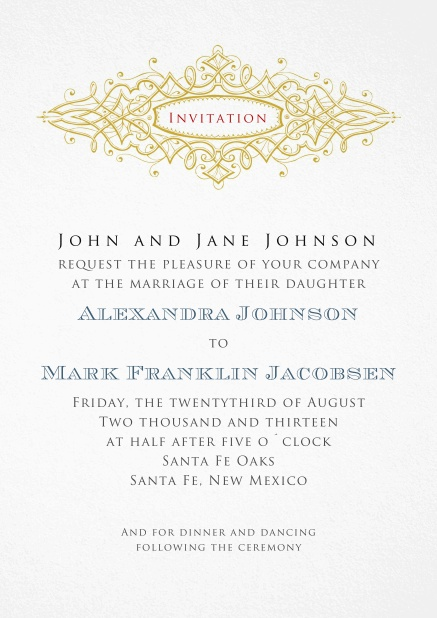 Formal Invitation for paper cards for weddings and precious birthday invitations.