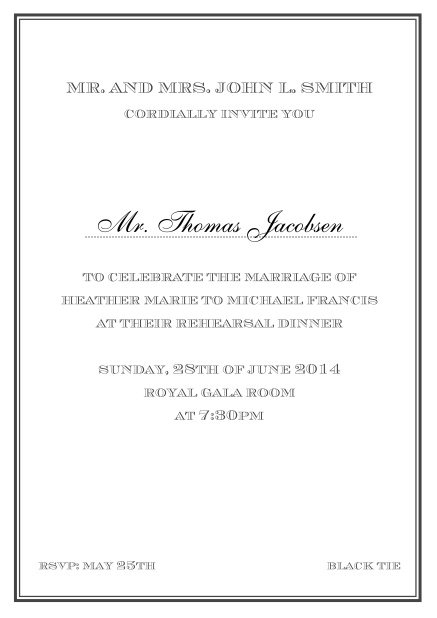 Online classic invitation card in Avignon design with fine single color frame. Black.