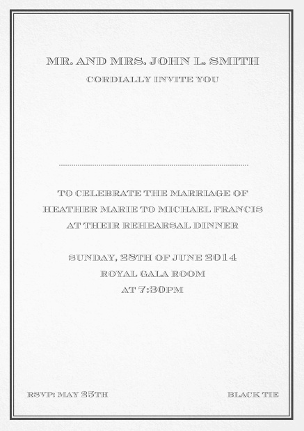 Classic invitation card in Avignon design with fine single color frame. Black.