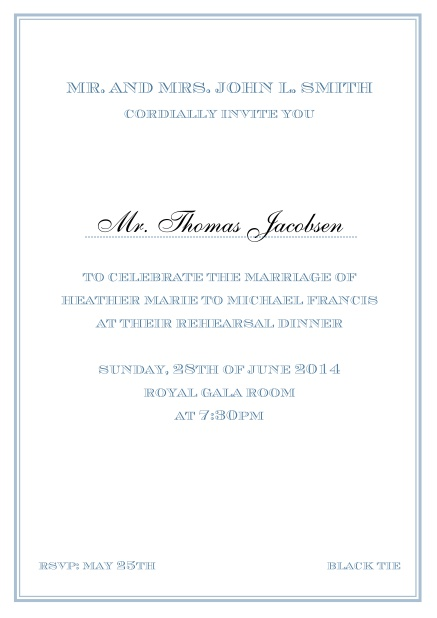 Online classic invitation card in Avignon design with fine single color frame. Blue.