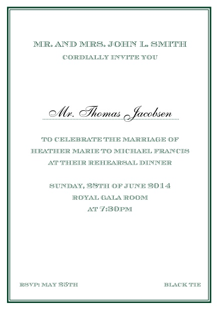 Online classic invitation card in Avignon design with fine single color frame. Green.