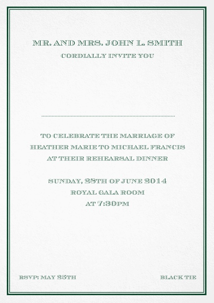 Classic invitation card in Avignon design with fine single color frame. Green.