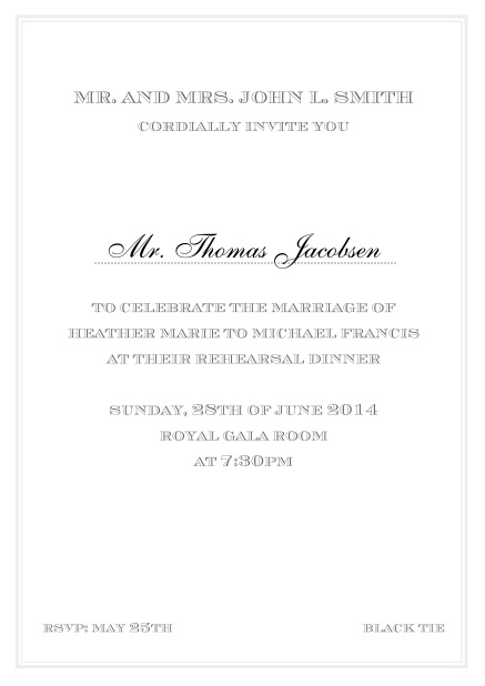 Online classic invitation card in Avignon design with fine single color frame. Grey.
