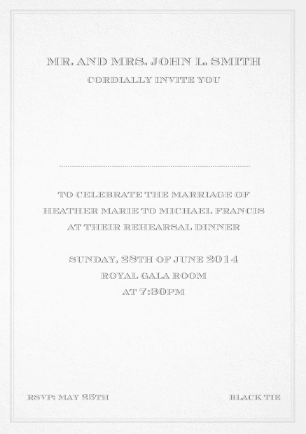 Classic invitation card in Avignon design with fine single color frame. Grey.