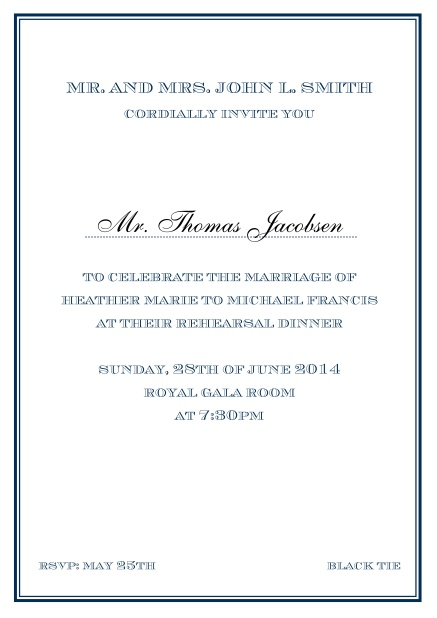Online classic invitation card in Avignon design with fine single color frame. Navy.