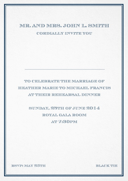 Classic invitation card in Avignon design with fine single color frame. Navy.