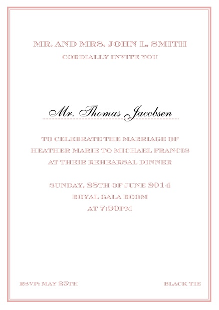 Online classic invitation card in Avignon design with fine single color frame. Pink.