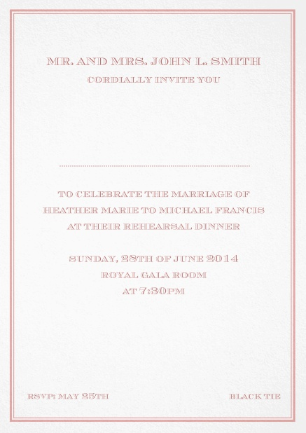 Classic invitation card in Avignon design with fine single color frame. Pink.
