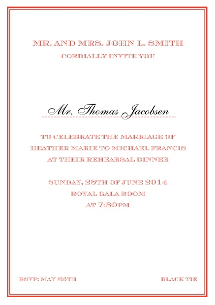 Online classic invitation card in Avignon design with fine single color frame. Red.