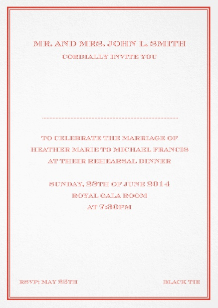 Classic invitation card in Avignon design with fine single color frame. Red.