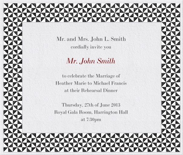 Square Green Formal Celebration Invitation Design with checkered Frame.