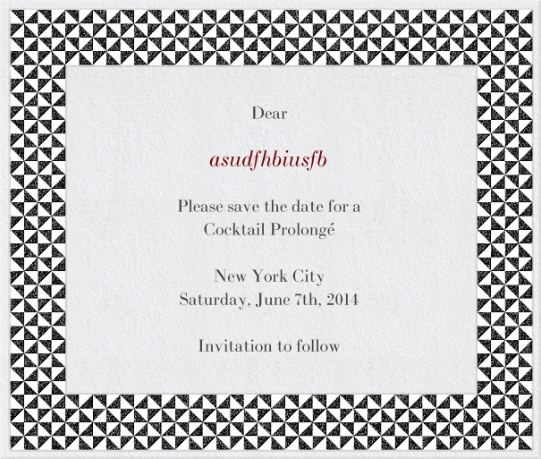 White Formal Save the Date Birthday Card with Checkered Frame.