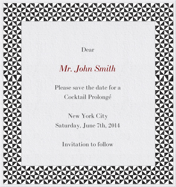 High White Formal Save the Date Birthday Card with Checkered Frame.