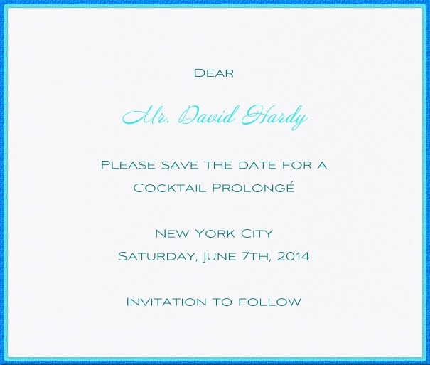 White Formal Save the Date Wedding Card with Blue Border.