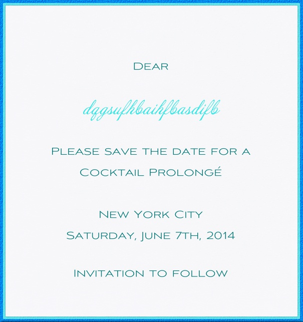 High White Formal Save the Date Wedding Card with Blue Border.