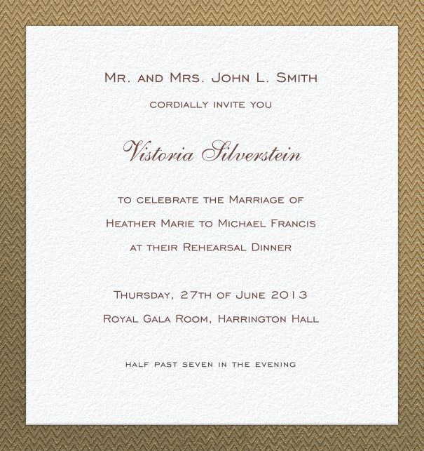 High Format White Formal Celebration Invitation card online with Gold border.