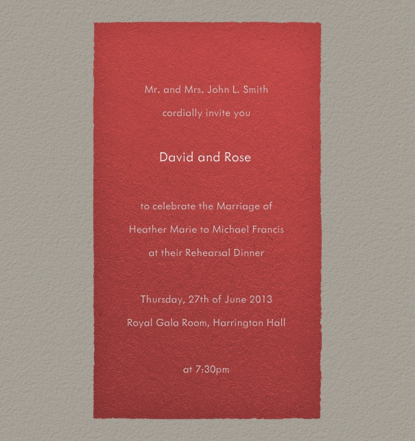 Grey, formal Wedding Invitation Design with red textfield.