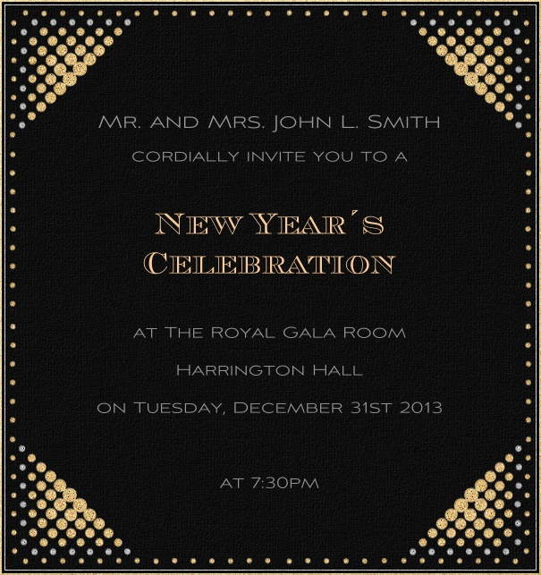 Black celebration high format invitation card with disco lights in all four corners.