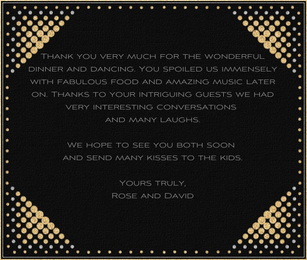 Black Celebration Card with gold dot border.
