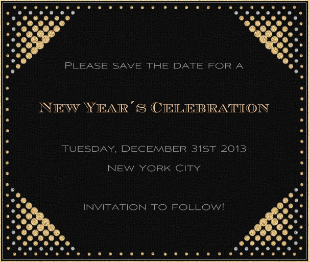Black Event Celebration Save the Date Template with New Year's Theme and Gold Disco Border.