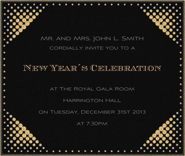 Black celebration square format invitation card with disco lights in all four corners.