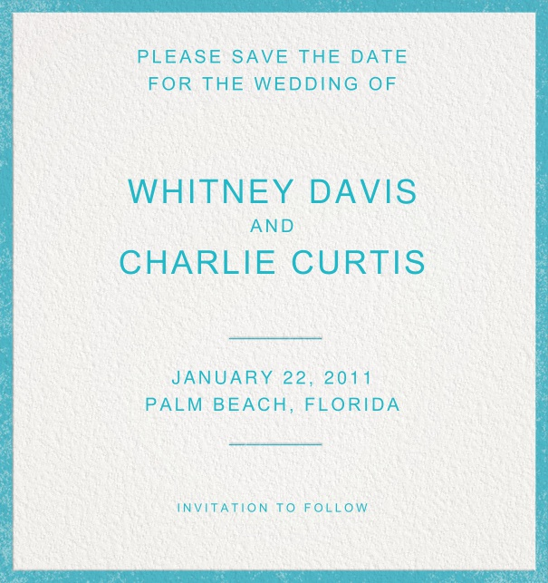 Blue Save the Date Card with Blue Border.