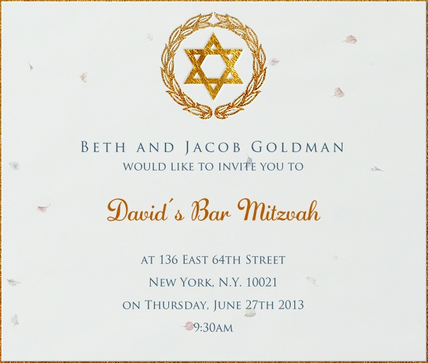 White  Bar Mitzvah Invitation or Bat Mitzvah Invitation with Gold Star of David.