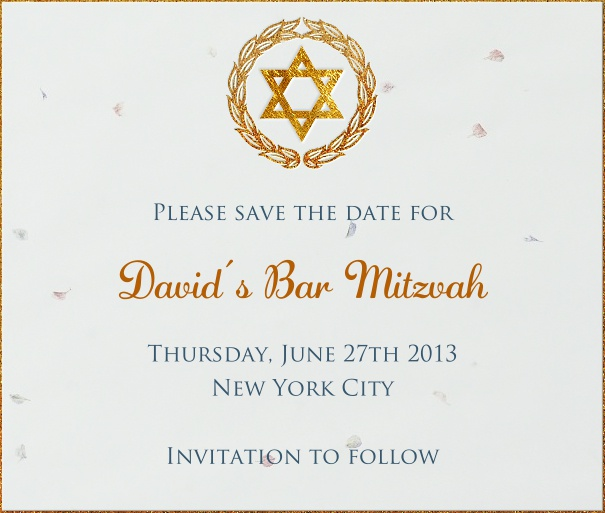 White Bar Mitzvah or Bat Mitzvah Save the Date with thin gold border and star of david.