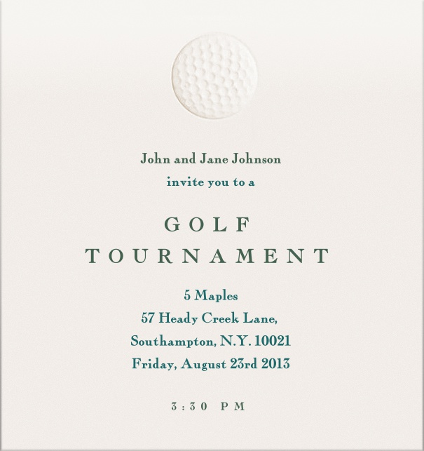 Golf Tournament Party Invitation with golf ball and turquoise   letter.