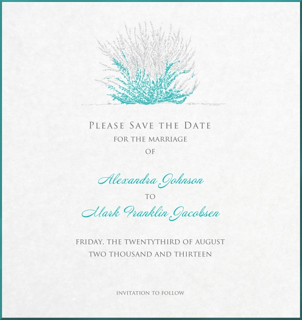 White Save the Date Card with grey-turquoise coral for weddings.
