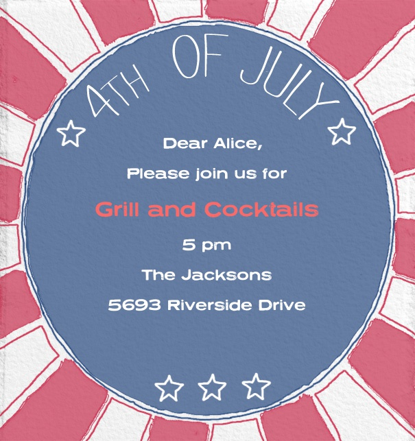 Fourth of July Invitation Online with Round Blue Text and Red and White Background.