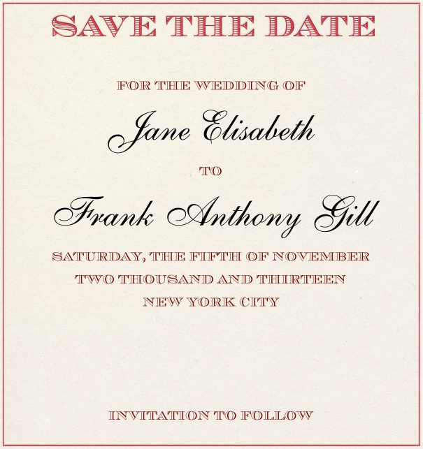 Beige classic Wedding Save the Date Card with pink border.