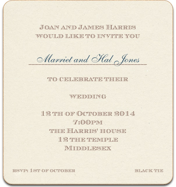 Monpellier muse classic invitation cards tan formal wedding anniversary invitation with custom name and gold border stopboris Image collections