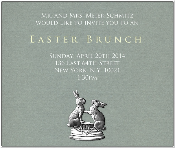 Easter Party Invitation Card with Bunnies.