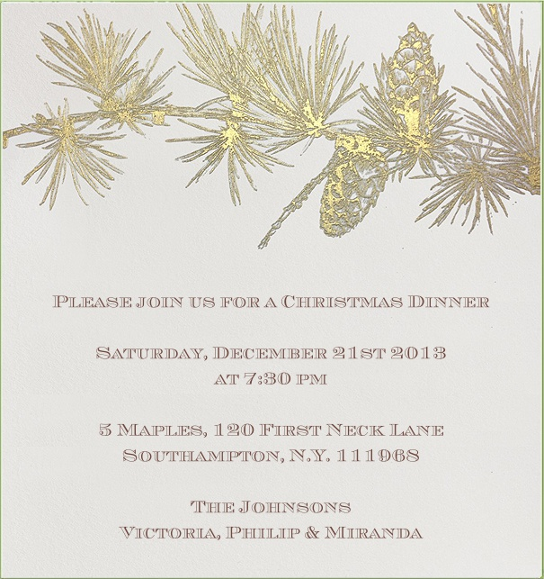 Christmas Dinner Invitation with Gold Christmas Tree Branch.