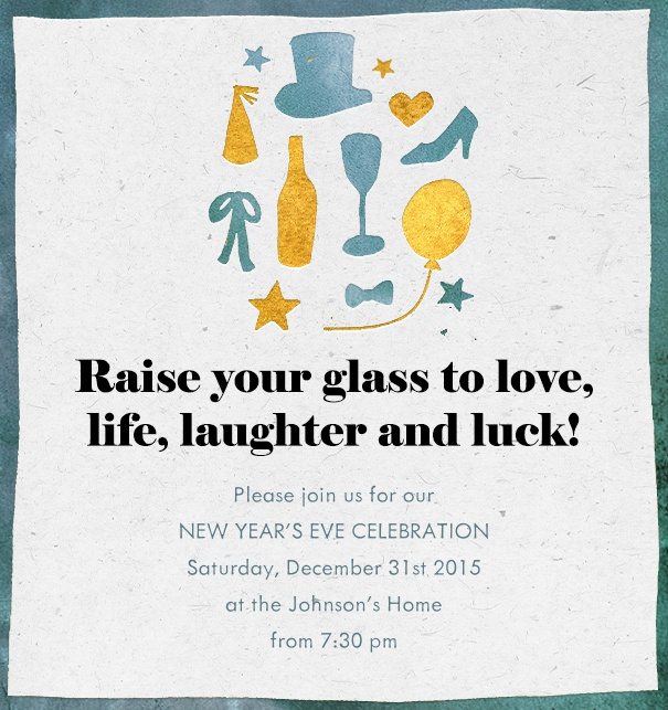 raise your glass new years eve online cocktail invitation with white background green frame party symbols on the top and