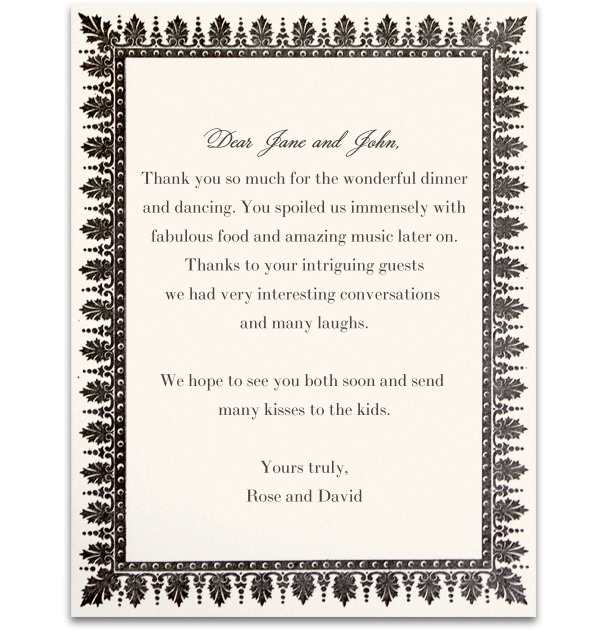 Wedding card online with grey text and grey frame.