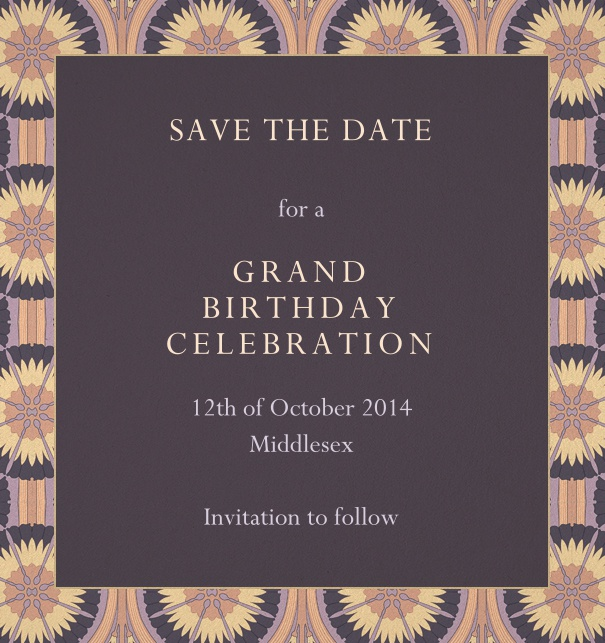 Online Birthday Save the Date with colorful art-deco border.